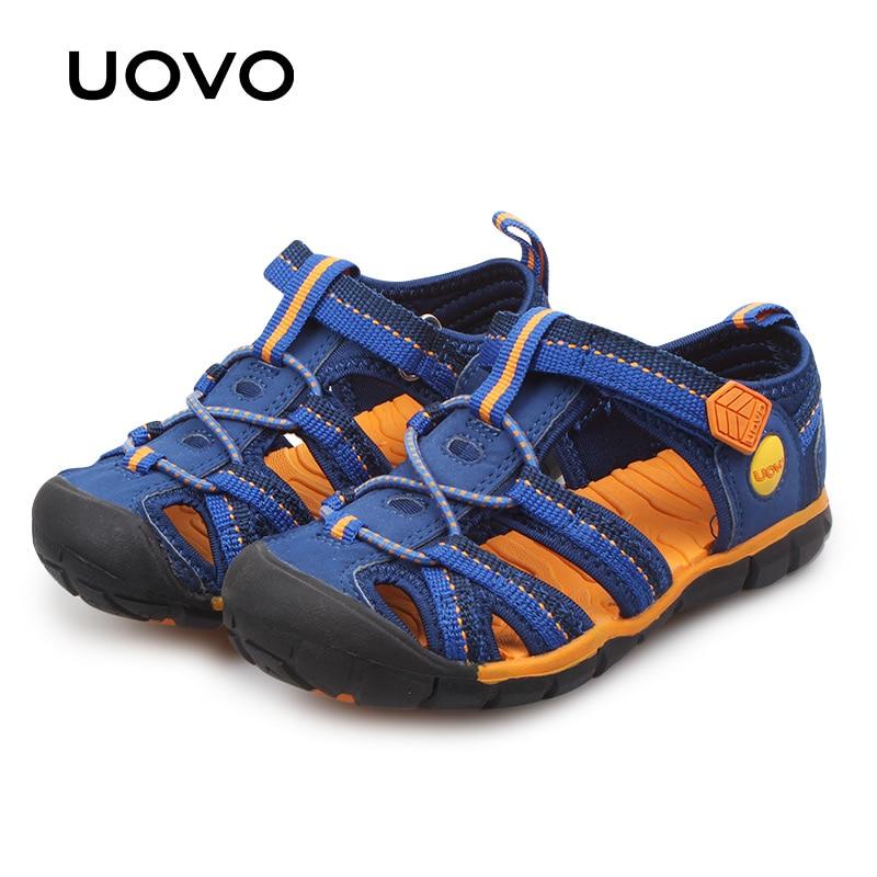 UOVO Big Boys Sandals 2018 Fashion Kids Shoes Summer Children Beach Sandals Baotou Sport Boys Footwear Size #31-#35