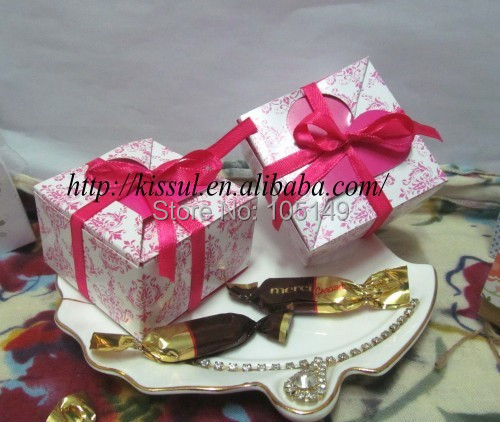100 Pieces Lot Top Elegant Wedding Gift Box Of Fuchsia Heart Flap Favor Bo For Cake And Party Candy
