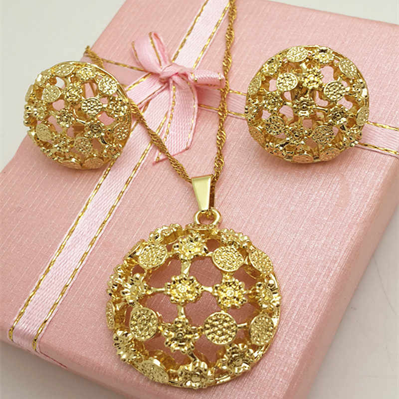 Jewelry Fashion Jewelry 2018 Big Earrings Pendant Necklace Jewelry Sets For Women Metal Round Hollow Out For Party Daily