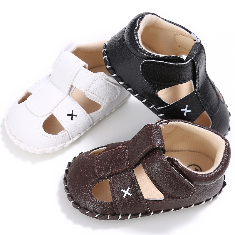 Summer Kid Boys Fashion PU Hollow Out Breathable Non-slip Soft Bottom Solid Color Cack Sandal