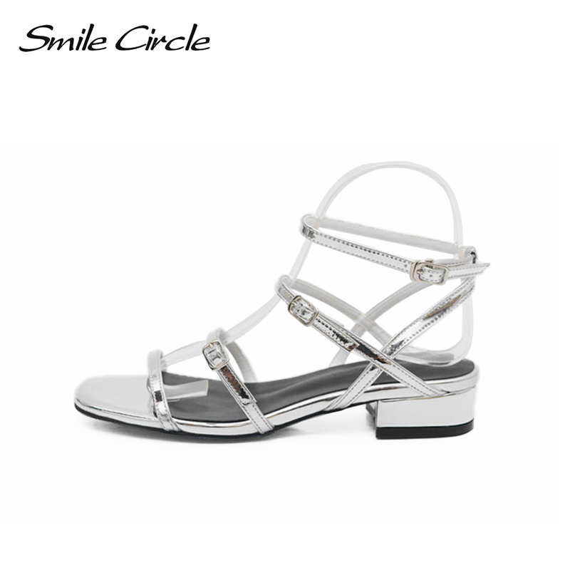Smile Circle Summer Sandals Women Fashion Rome flat shoes For Women sandals chaussures femme ete 2018 Handmade high quality