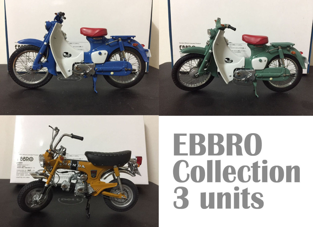 Ebbro Bike Honda ST50 + Super Cub C100 , 1:10 Scale DieCast Model Motorcycle Collection, 3 Units