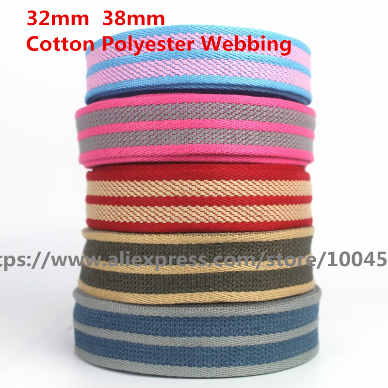 5 Meter Colorful Thick Cotton Polyester Webbing Tape Bag Straps Belt Sling Seat belt webbing Very Strong 32mm 38mm
