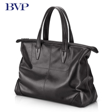 Soft Leather Business Laptop Briefcase Genuine Leather Mens Document Bag 14 Inch Computer Bag  Cowhide Leather Traveling Bag J20