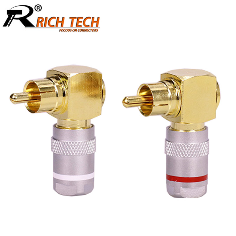 10pcs/lot Right Angle RCA Male Plug Connector Copper Gold Plated 90 Degree RCA Male Plug Speaker Audio Adapter 5 Pairs Red+White gold plated rca male to rca female right angle extension adapter black golden 3 pcs