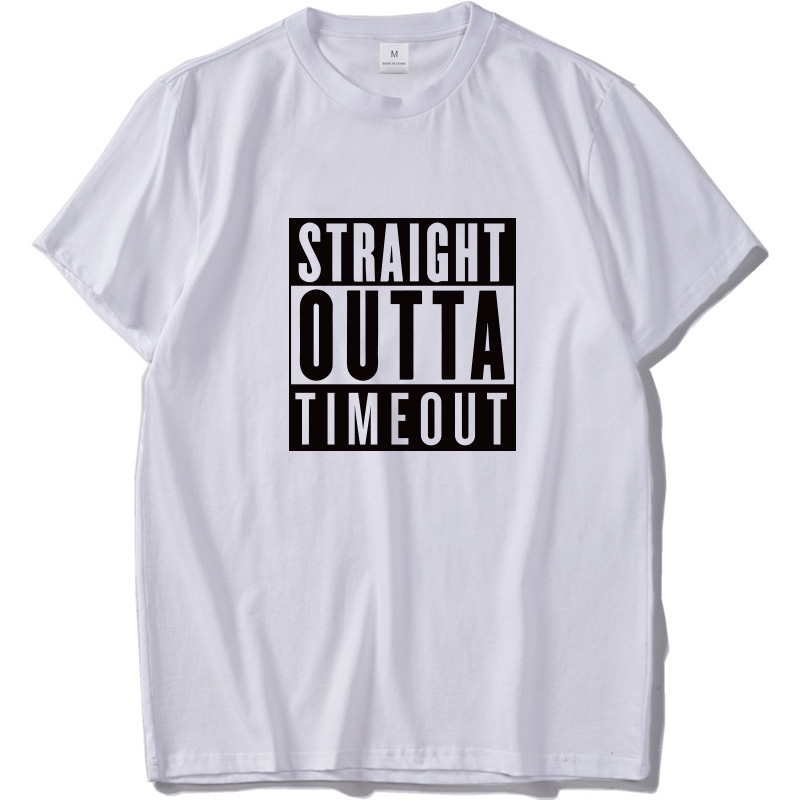 0bae14997 Straight Outta Timeout Tee Shirt Funny Letter Shirt Casual Cotton Short  Sleeve Black Tshirt Streetwear Hip Hop T shirt -in T-Shirts from Men's  Clothing on ...