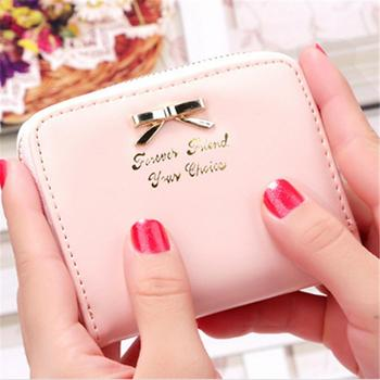High quality Brand Wallet Women Bowknot Small Purse PU Artificial Leather Wallet Female Zipper Coin Purse Wallet overwatch Coin Purses & Holders