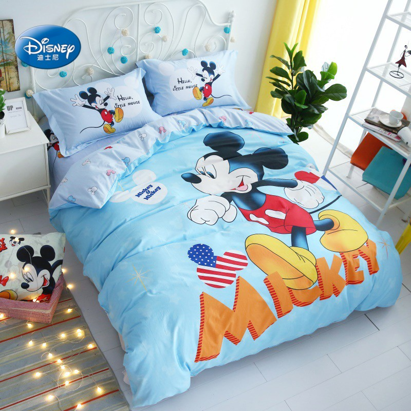 Disney Teal Blue Mickey Mouse 100% Cotton Duvet Cover Set Flat Sheet Pillowcases for 1.2m 1.5m Bed Boys Bedroom Decoration Bedding Sets     - title=