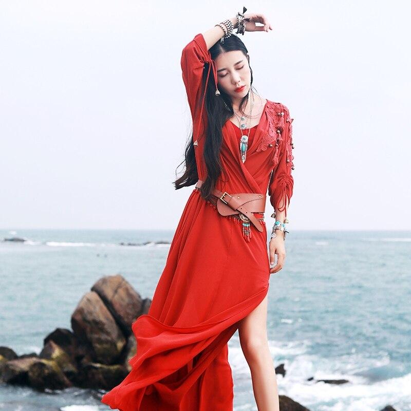 IRINAW209 New Arrival Summer 2018 long two piece tassel lace appliqued burgundy chiffon vintage dress women