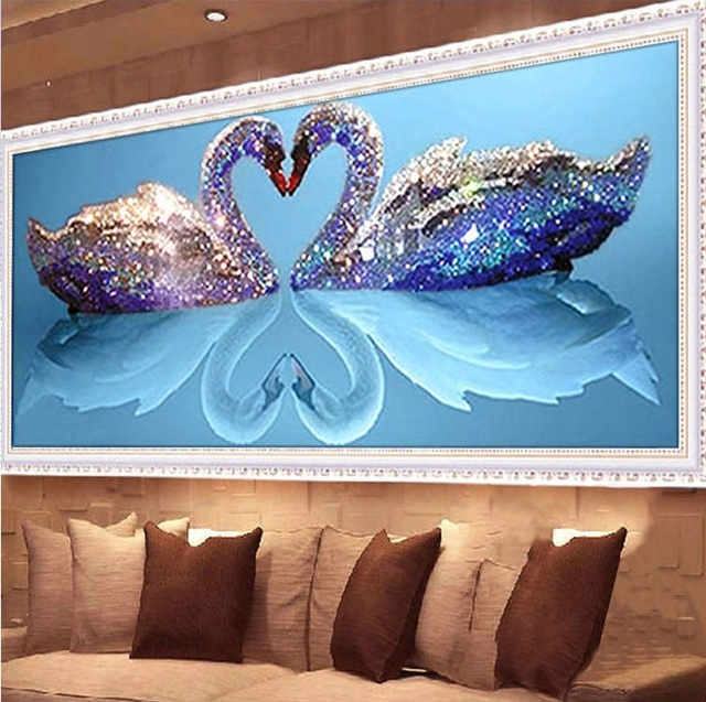 CAMMITEVER 5d DIY Mosaic Art Needlework Diamond Painting Swan Rhinestone  Pasted Cross Stitch Animal Wedding Diamond 2 Swans 98836e1d29a8