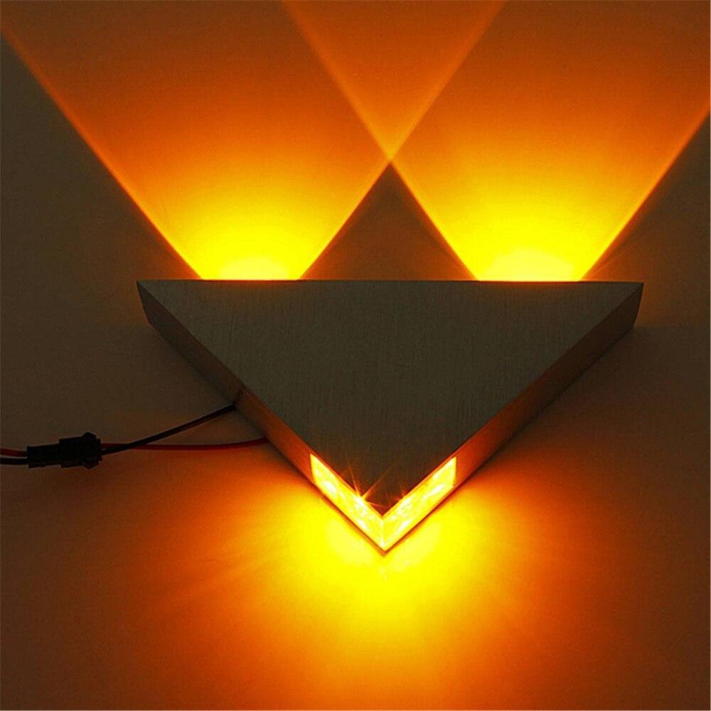3W алуминиев триъгълник доведе стена лампа AC85-265V висока мощност доведе модерен дом осветление вътрешен открит декорация светлина