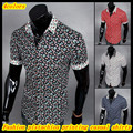 Free shipping New arrival fashion national wind pistachios prints casual shirts for men QR-1409
