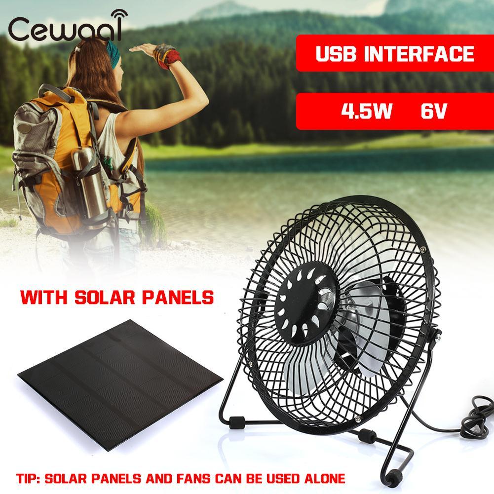 Panneau solaire avec ventilateur de voyage 4.5 W 6 V USB ventilateur Portable chargeur rapide panneau de chargeur solaire en plein air