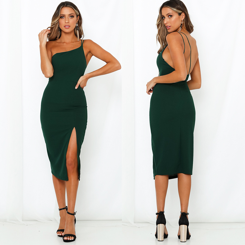 HTB1CQ3ye8Cw3KVjSZFuq6AAOpXat Evening Party  Dress vestidos Women Backless One Shoulder Split Bodycon  Strap Christmas Red  Dresses 2019 New Arrivarls