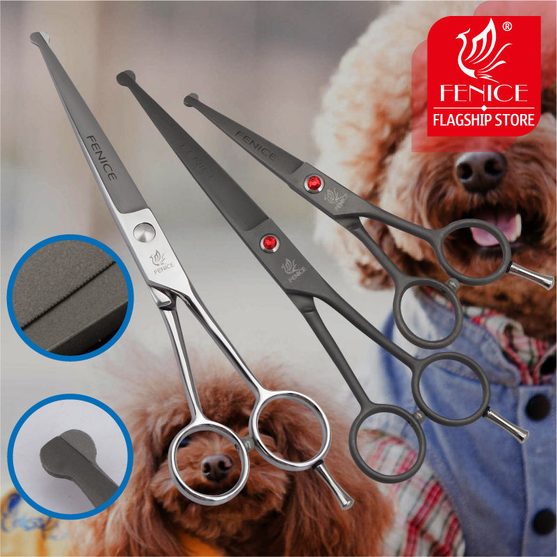Fenice Stainless Steel 4,5 7,0 tum Pet Dog Grooming Verktyg Skärning Small Fenice sax med Safety Round Tips Top Shears