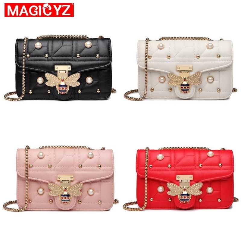 MAGICYZ роскошная женская сумочка с бриллиантами, модная сумка на плечо с жемчугом пчелы, брендовый кожаный клатч, кошелек, Женский мешок, основной блок