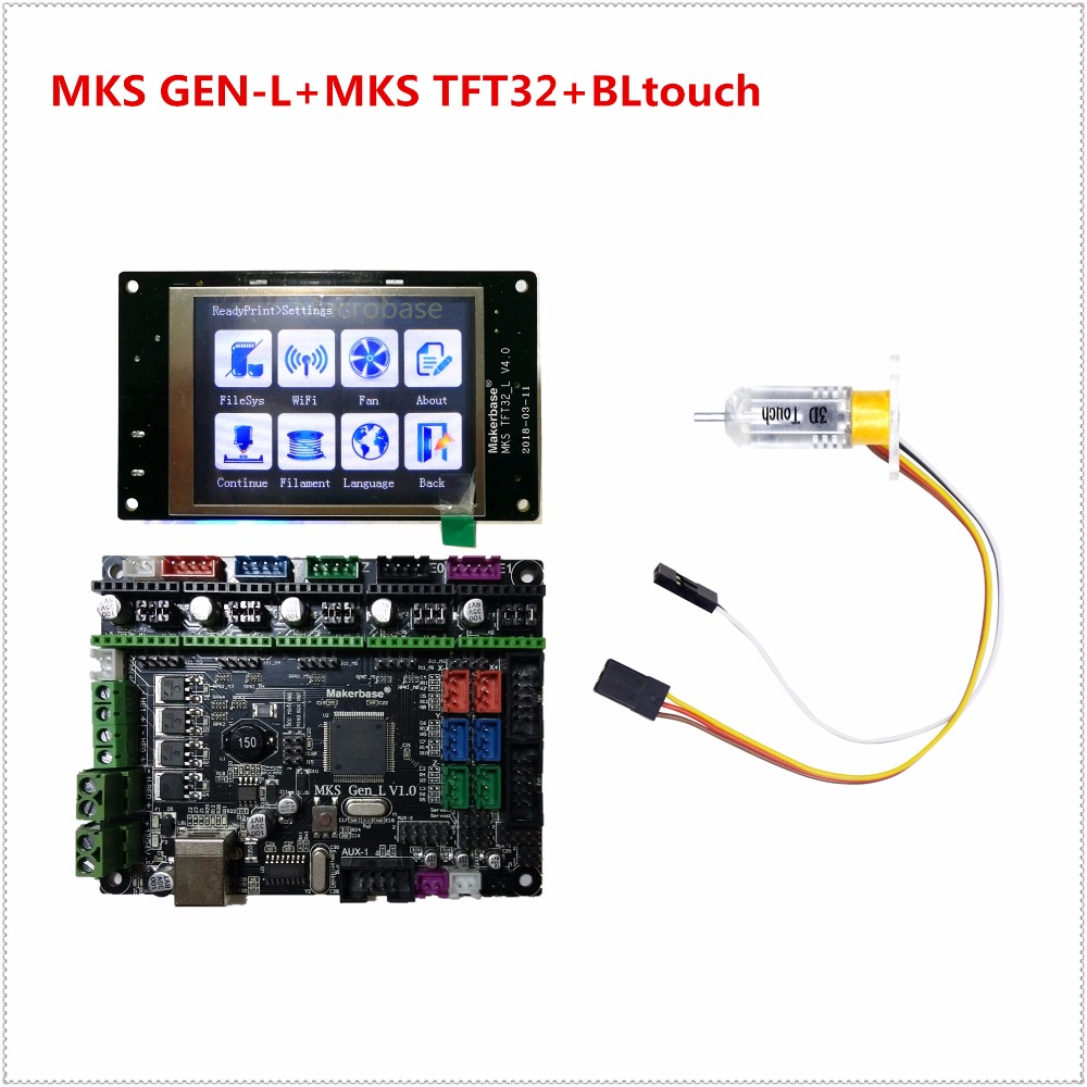 MKS GEN-L + MKS TFT32 V4.0 touch screen + BLtouch bed leveling sensor RepRap control kits TFT 32 display for 3d printer learner tl touch automatic bed leveling sensor bltouch for 3d printer
