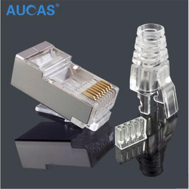 High Quality shielded  rj45 connector network connector Cat6 RJ45 Plug Connector FTP three pcs suit Modular Ethernet Cable Head