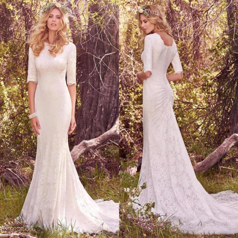 2019 Vintage Country Wedding Dresses With Half Long