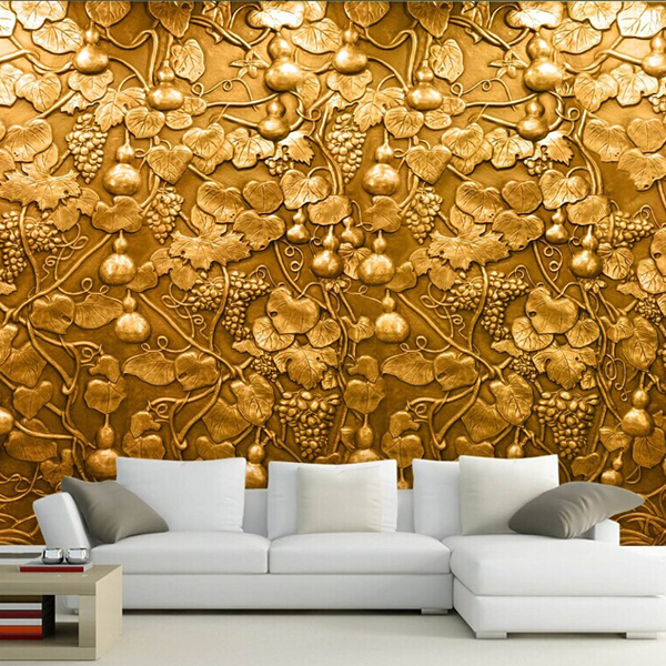 Large 3d small gourd flower wall mural photo murals for Wall art wallpaper
