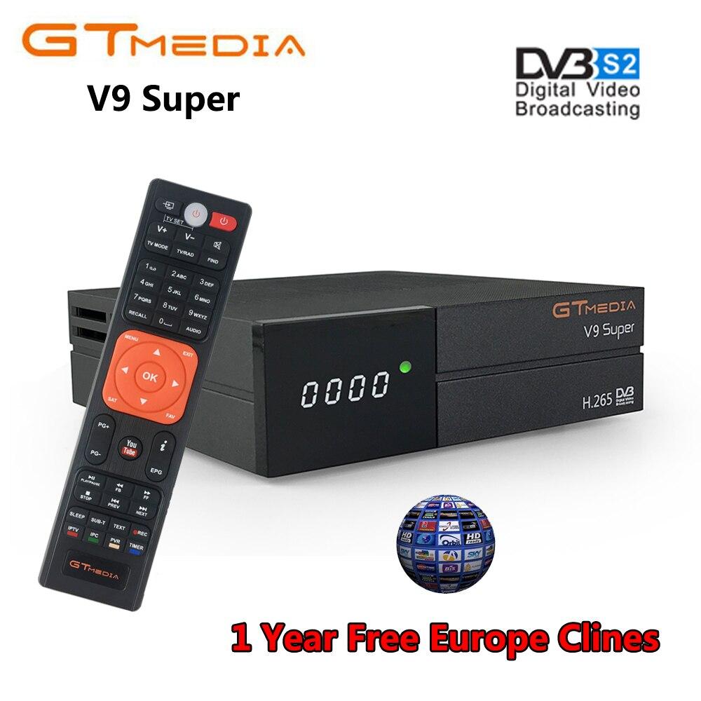 US $42 39 40% OFF|GTmedia V9 Super DVB S2 Satellite Receiver Cccam Cline  for 1 Year Spain Europe H 265 1080P HD WiFi TV Turner vs Freesat V8 V7-in