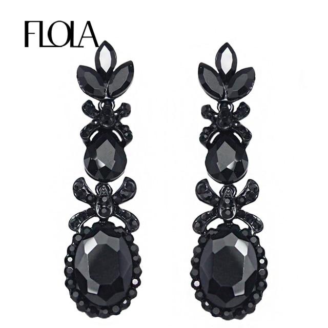 New Vintage Long Black Crystal Earrings Fashion Jewelry For Women Earings Penntes Oorbellen Dress Ersg80
