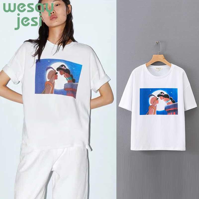 2019 new summer t-shirt women england style print cartoon modern primitive t shirt tops