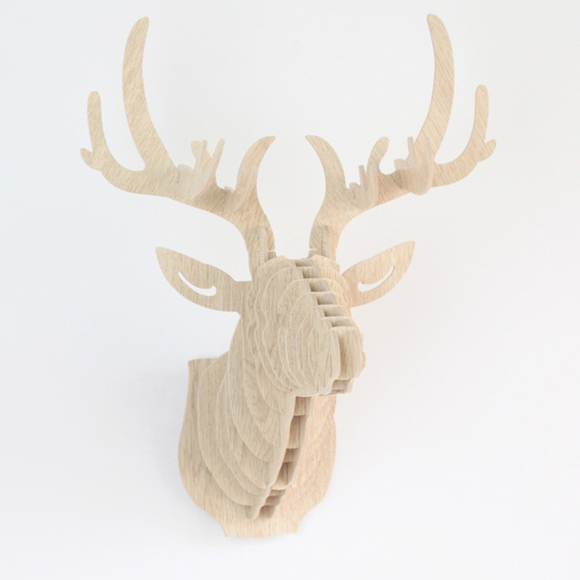 6 Colors Diy Wooden Animal Deer Head Wall Hanging Creative Wood Home Decor Mdf Crafts
