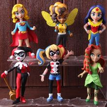 DC Comics Wonder Woman Harley Quinn Poison Ivy Supergirl Super Girl Action Figures PVC Collectible Model Toys 6pcs/set(China)