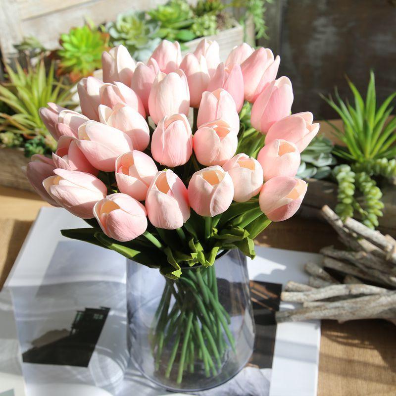 Artificial Tulips Fake Flowers PU Flores Artificiales Para Decora O Mini Tulip for Home Wedding Decoration Cheap Flowers