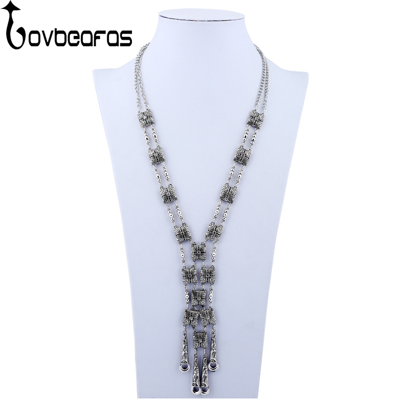 LOVBEAFAS Fashion Bohemian Statement Maxi Long Necklace Collier Colar Vintage Collar Boho Necklace Women Fine Jewelry plus size funnel collar maxi asymmetric hoodie