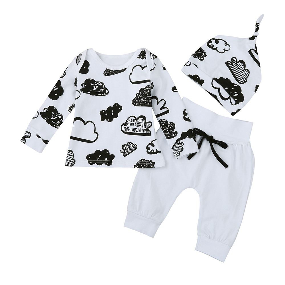 Newborn Infant Baby Girl Boy Cloud Print T Shirt Tops+Pants Outfits Clothes Set Oct 4 2017 brand new 3pcs set newborn toddler infant baby girl boy clothes romper long sleeve shirt tops pants hat santa candy outfits