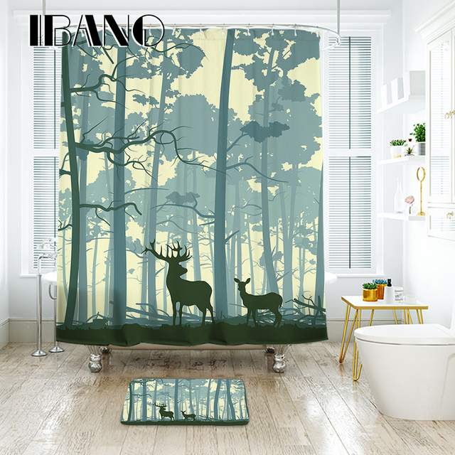 IBANO Forest Elk Shower Curtain Waterproof Polyester Fabric Bath For The Bathroom Decoration With 12pcs Hooks