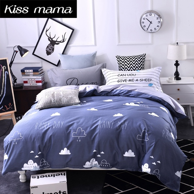 100% Cotton Bedding Set King Size Nordic Duvet Cover Set Custom Size Bed  Clothes Grey