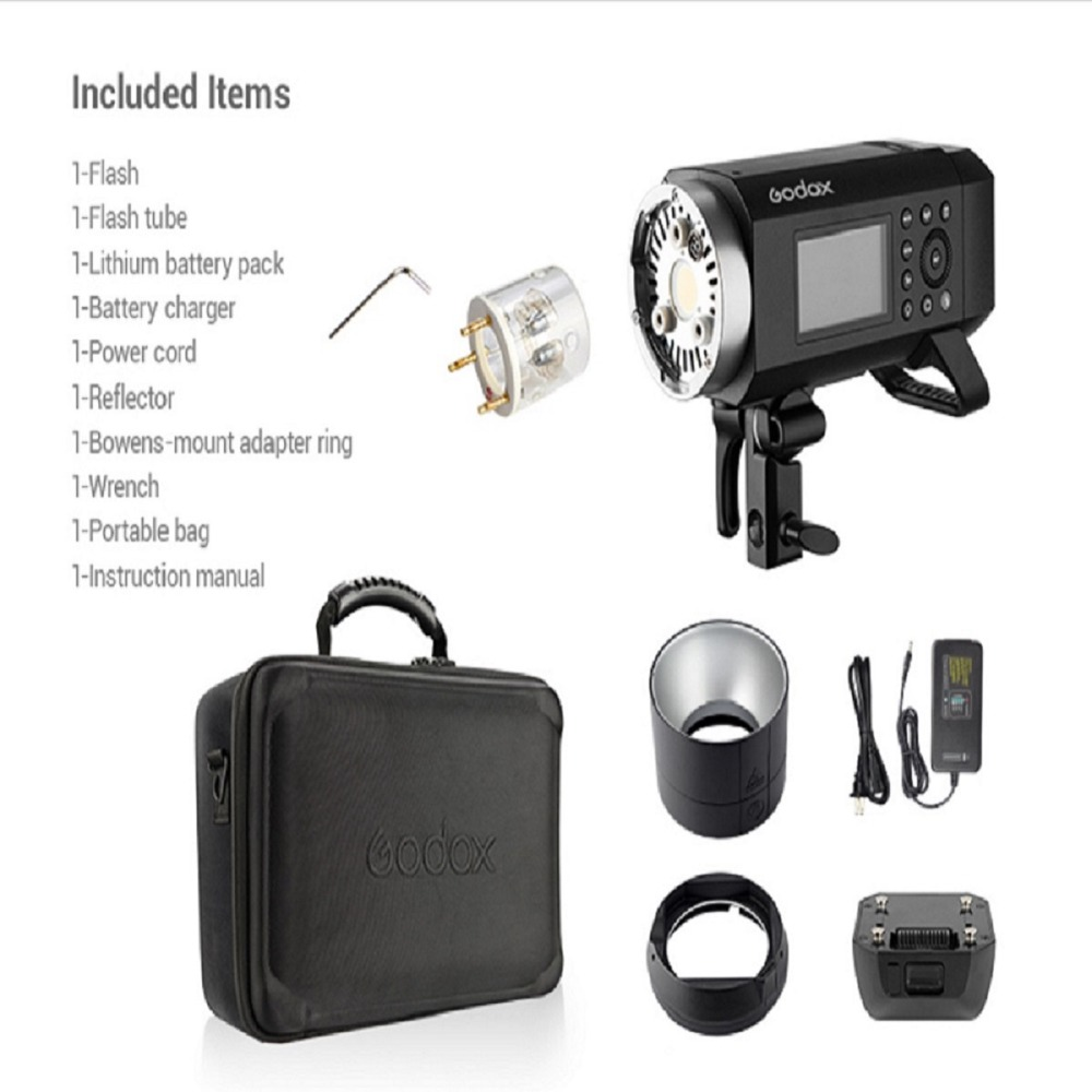 Godox AD400Pro Witstro Flash Wireless Trigger TTL Battery-Powered Monolight with Built-in R2 2.4GHz Radio Remote System