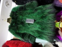 Raccoon fur long coat black and green