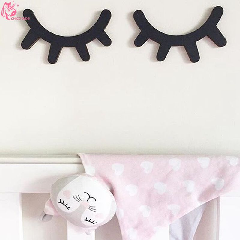 Ins 3d Wall Wooden Eyelash On Wall Sticker Decorate In Childrens