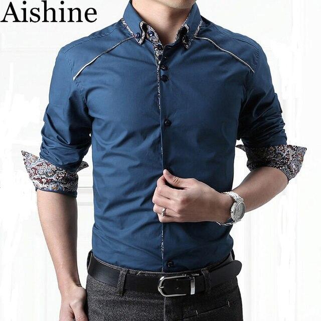 c8860430c876 YXS12 New 2016 Spring Men'S Slim Fit Dress Shirt Men'S Cotton Fashion Shirt  Business Long Sleeve