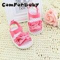 Rendas de Algodão Rosa Princesa Não-deslizamento Sapatos de Bebê macio Da Criança Sapatos Macios Sapatos de Bebê Fundo WMC250