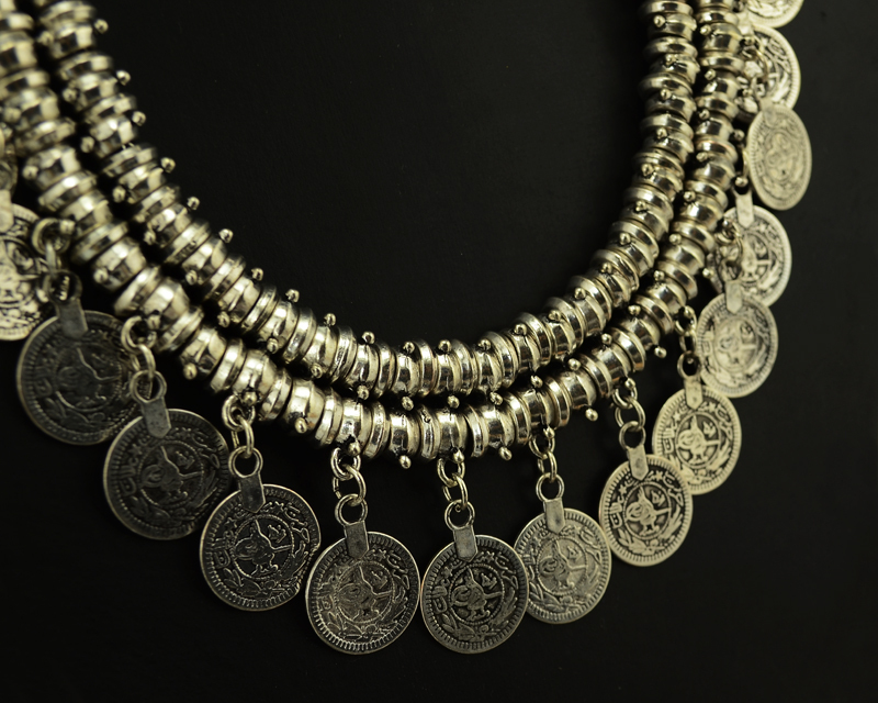 Bohemian Ethnic Antalya Yonca Silver Turkish Gypsy Boho Coachella Beach Choker Bib Coin Necklace Women Jewelry