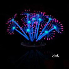Silicone Glowing Artificial Fish Tank Decoration Aquarium Vivid Feather Coral Plants Ornament Underwater Pets Decorative