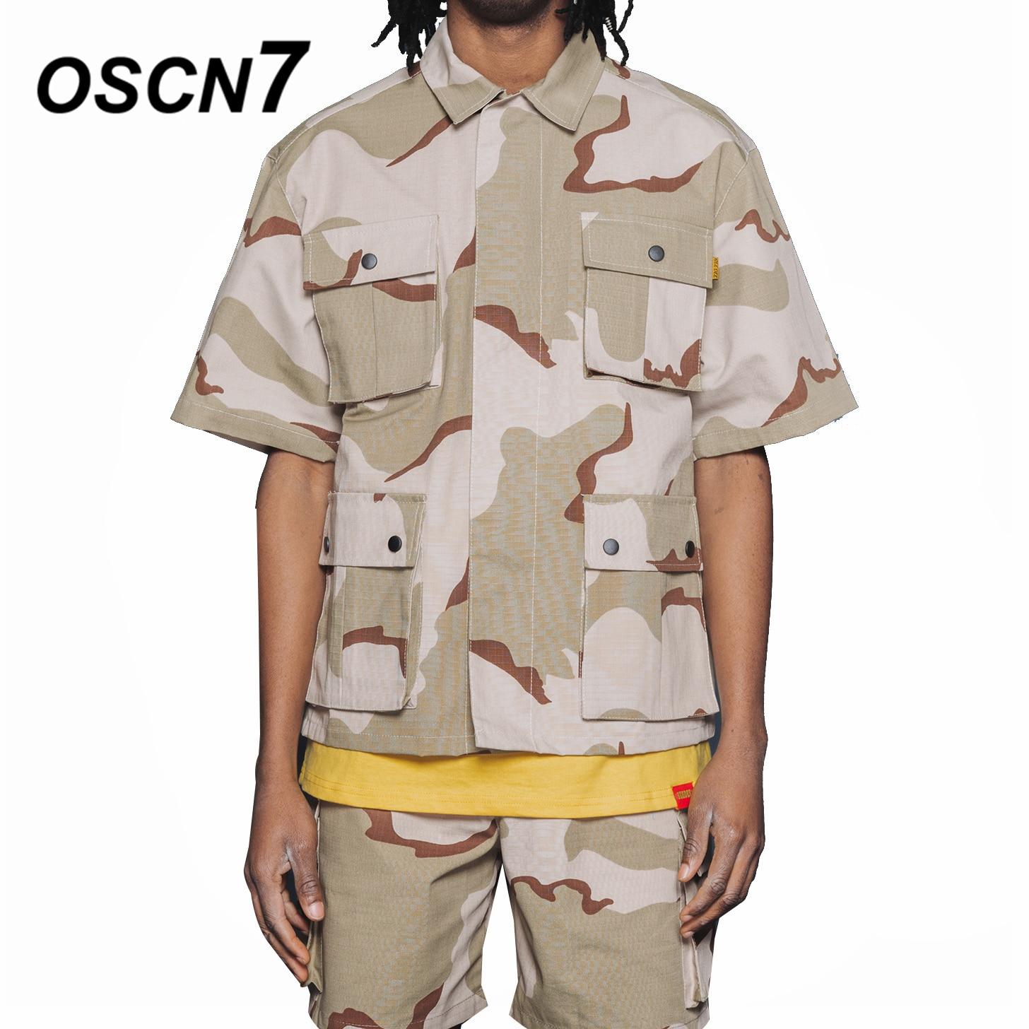 OSCN7 Fashion Short Sleeve Jackets Loose Casual Hip Hop Mens Cargo Jackets Streetwear Jaquetas Masculina 1816