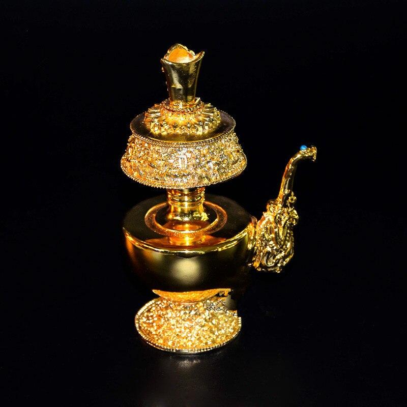 Suprimentos Budismo tibetano Oito Símbolos Auspiciosos High-end Liga Dourada PapaWemba Pote Garrafa de Água do Filtro Santo Vaso Sacrificial