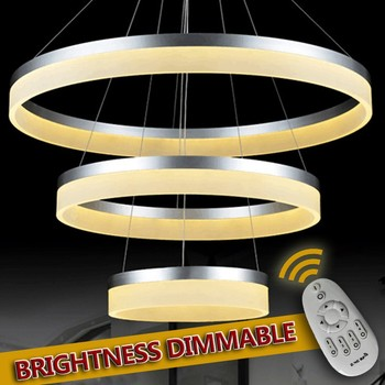 NEW Modern Chrome lustre chandelier Luxury Ring led lamp Stainless Steel Hanging Light Fixtures Adjustable Chandeliers 90-260V