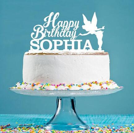 Custom Name Acrylic Fairy Happy Princess Girl Birthday Cake Toppers