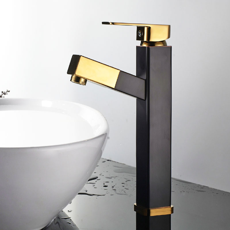 ORB Black Golden Square Brass Pull Out Bathroom Faucet Black Sink Basin Mixer Tap Cold Hot Water taps With Hand Spray JK013BGT black brass vanity sink pull out faucet basin mixer hot and cold water for bathroom toilet kitchen