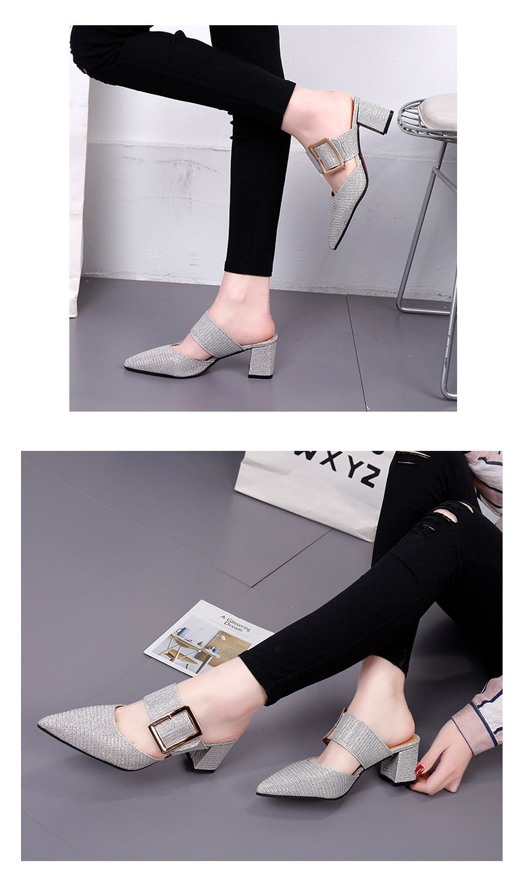 2019spring New Thick with Muller Shoes Women's High Heels Pointed Belt Buckle Back Air Slippers Elegant Temperament Baotou 7