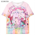 Hiawatha Women T Shirts  Fashion Character Letters Printed T-shirts Women's Summer Cool Short Sleeve Contrast Tops T1606