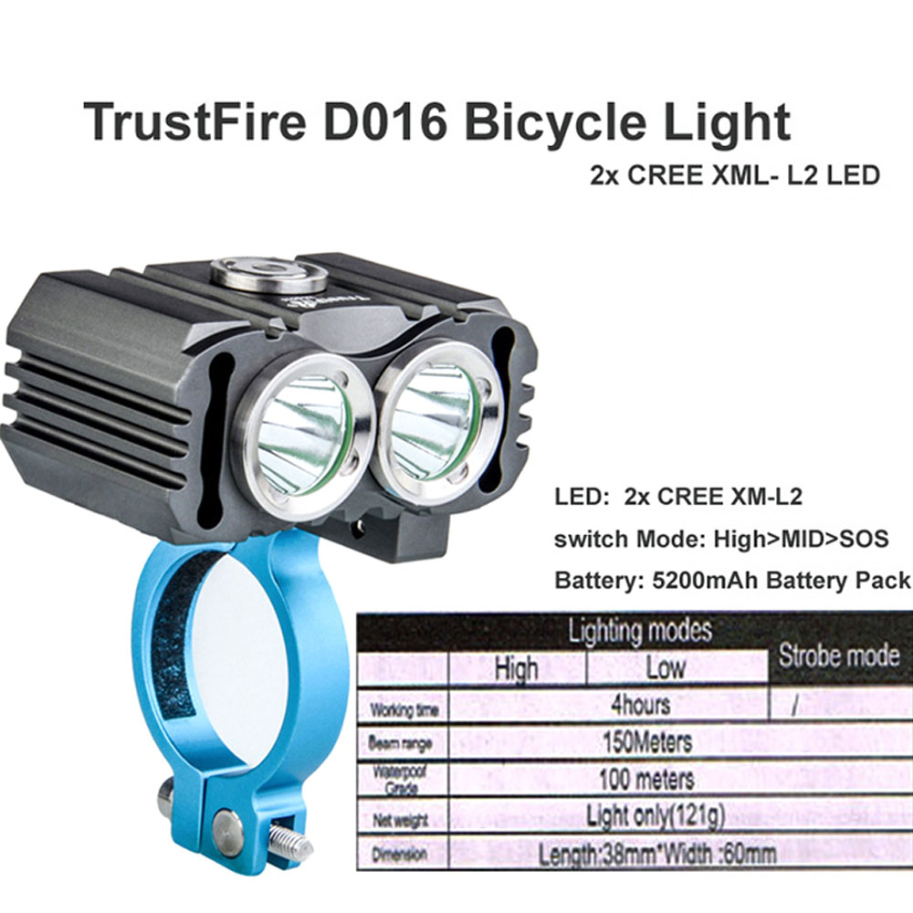 TrustFire D016 L2 3 Switch Mode Bicycle bike light flashlight 3mode waterproof Bicyclelight with 5200mAh Battery Pack
