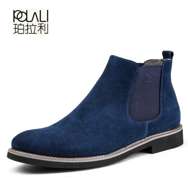 e12114094f66c POLALI Chelsea Boot Men Suede Hombre Martin Boots Low Heel Leather Ankle  Boots Vintage Sewing Thread Britain Botas XMG0114-5